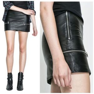 ZARA Black Leather Mini Moto Skirt